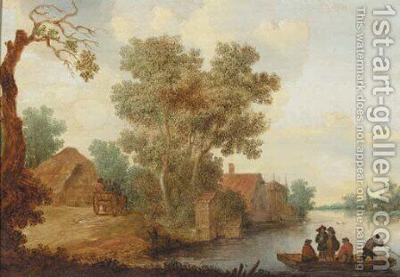 A ferry on a river with travellers on a horse drawn wagon, approaching a hamlet, in summer by (after) Pieter De Neyn - Reproduction Oil Painting