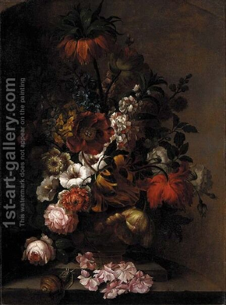 A crown imperial lily, tulips, daffodils, hollyhocks, roses and other flowers in an urn with a snail on a ledge by (after) Pieter Faes - Reproduction Oil Painting
