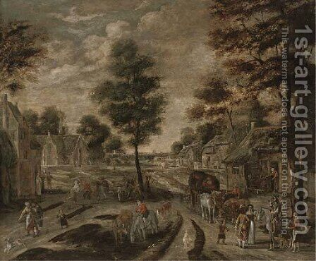 A village street with peasants and travellers by (after) Pieter Gysels - Reproduction Oil Painting
