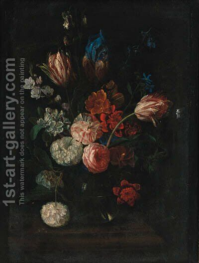 Carnations, tulips, peonies, irises and other flowers in a glass bowl on a ledge by (after) Pieter Hardime - Reproduction Oil Painting