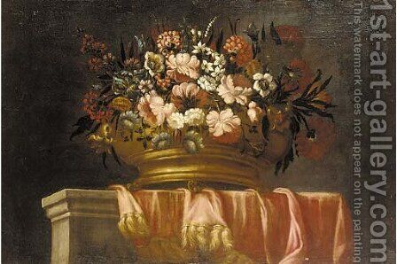 Flowers in an urn on a draped ledge by (after) Pieter Hardime - Reproduction Oil Painting