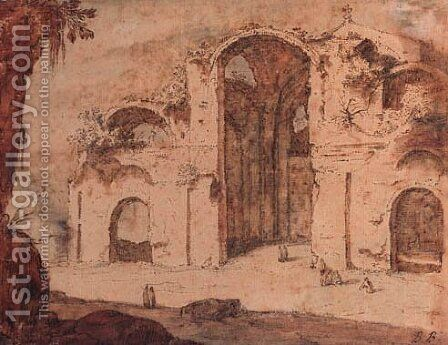 The Baths of Diocletian, Rome by (after) Pieter Pietersz. Lastman - Reproduction Oil Painting