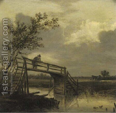 A river landscape with a peasant on a timber bridge by (after) Pieter De Molyn - Reproduction Oil Painting