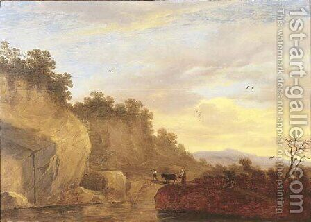 An Italianate landscape with herdsmen and a cow crossing a bridge by (after) Pieter De Molyn - Reproduction Oil Painting
