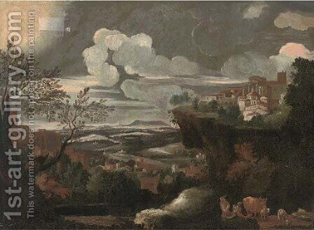 An extensive mountainous landscape, with a shepherd and his flock, a town beyond by (after) Pieter The Younger Mulier (Tampesta, Pietro) - Reproduction Oil Painting