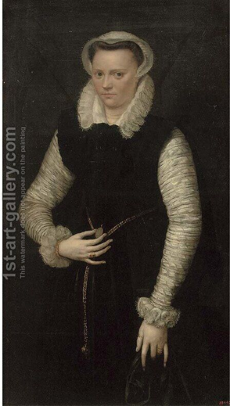 Portrait of a lady by (after) Pieter Pietersz - Reproduction Oil Painting