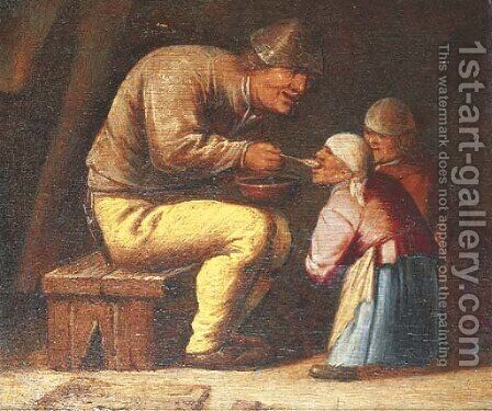 A Peasant feeding two children in an interior by (after) Pieter Jansz. Quast - Reproduction Oil Painting