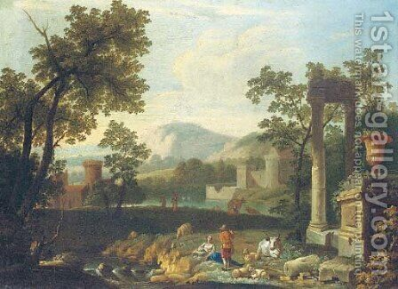 An Italianate landscape with shepherds by classical ruins by (after) Pieter Rysbrack - Reproduction Oil Painting