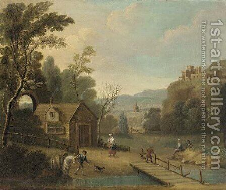 A landscape with figures by a river by (after) Peter Tillemans - Reproduction Oil Painting