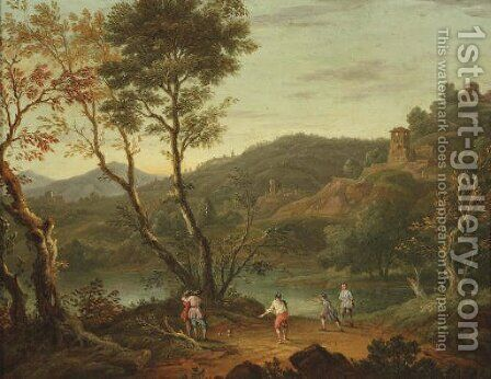 An Italianate landscape with 'boule' players on the banks of a lake, fortified towns in the distance by (after) Peter Tillemans - Reproduction Oil Painting