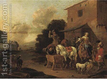 A village inn with a hunting party halting to water horses by (after) Pieter Van Bloemen - Reproduction Oil Painting