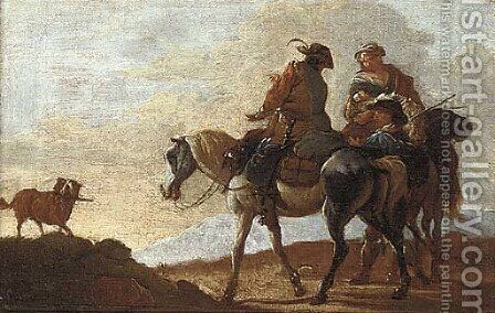 Mounted travellers with a dog on a mountain path by (after) Pieter Van Bloemen - Reproduction Oil Painting