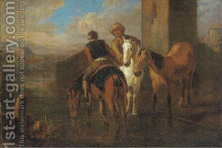 Riders at halt by a river in an Italianate landscape by (after) Pieter Van Bloemen - Reproduction Oil Painting