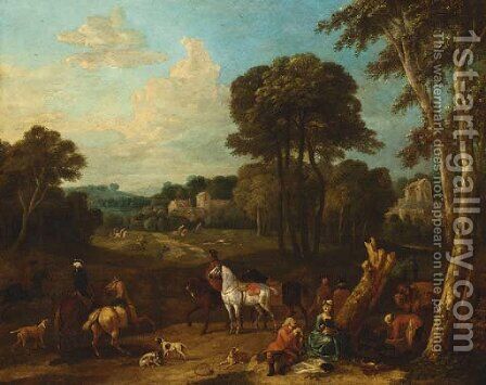 A hunting party at rest in a landscape by (after) Pieter Van Bloemen - Reproduction Oil Painting