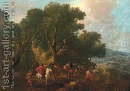 An Italianate wooded landscape with an ambush in the forground by (after) Pieter Van Bloemen - Reproduction Oil Painting
