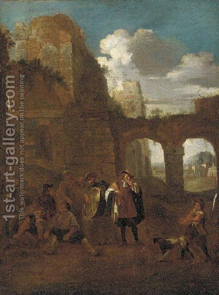 Peasants and a dog amongst classical ruins by (after) Pieter Van Laer (BAMBOCCIO) - Reproduction Oil Painting