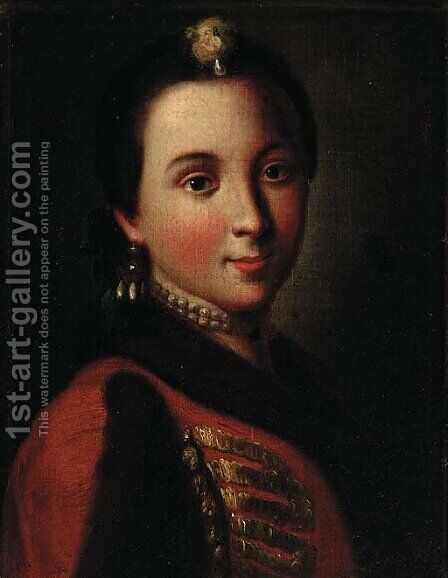 Portrait of a lady by (after) Pietro Antonio Rotari - Reproduction Oil Painting