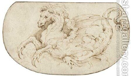 A hippocamp Design for an embroidered panel by (after) Perino Del Vaga (Pietro Bonaccors) - Reproduction Oil Painting