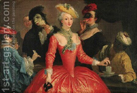 Elegant company in masque costume taking coffee and playing cards by (after) Longhi, Pietro - Reproduction Oil Painting