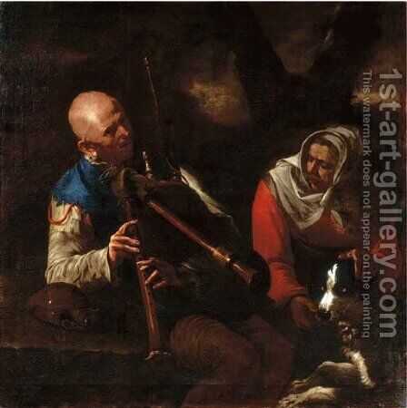 A peasant playing a bagpipe and an old woman listening with a dog by (after) Pietro Paolini - Reproduction Oil Painting