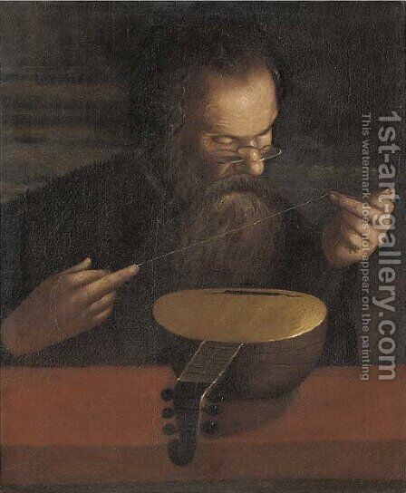 An old man stringing a lute by (after) Pietro Paolini - Reproduction Oil Painting