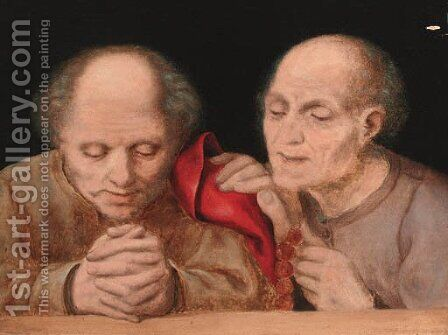 Elderly men at prayer by (after) Quentin Massys - Reproduction Oil Painting