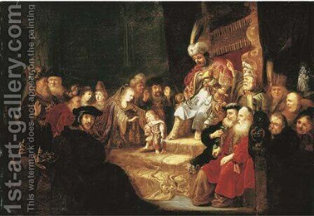 Moses Trampling on Pharaoh's Crown by (after) Rembrandt Van Rijn - Reproduction Oil Painting