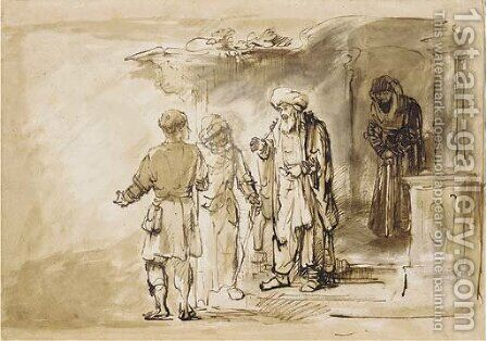 The Banishment of Hagar and Ishmael by (after) Rembrandt Van Rijn - Reproduction Oil Painting