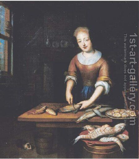 A young lady gutting fish in an interior by (after) Reynier De La Haye - Reproduction Oil Painting