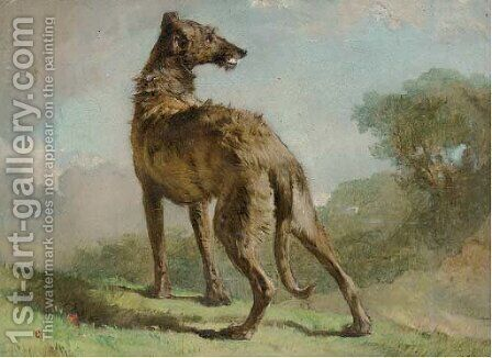 A lurcher in a landscape by (after) Richard Ansdell - Reproduction Oil Painting