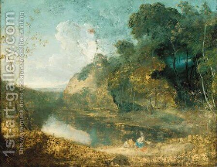 A wooded river landscape,with countryfolk resting in the foreground, a hilltop ruin beyond by (after) Richard Wilson - Reproduction Oil Painting