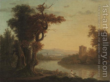 An extensive wooded river landscape with figures in the foreground, a classical ruin beyond by (after) Richard Wilson - Reproduction Oil Painting
