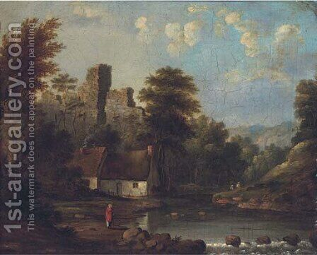 Figures by a riverside cottage, a castle ruin beyond by (after) Robert Gibb - Reproduction Oil Painting