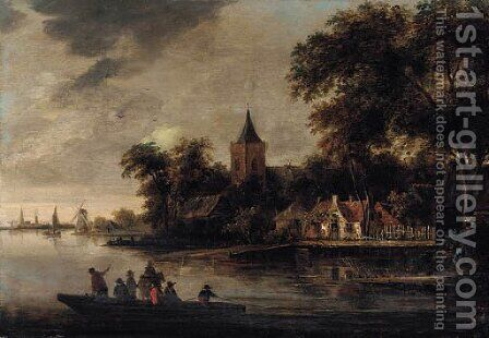 A river landscape with fishermen, a village beyond by (after) Roelof Van Vries - Reproduction Oil Painting