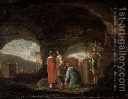A grotto with a pagan sacrifice by (after) Rombout Van Troyen - Reproduction Oil Painting