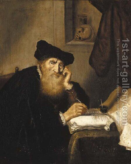A scholar writing at a table by (after) Salomon Koninck - Reproduction Oil Painting