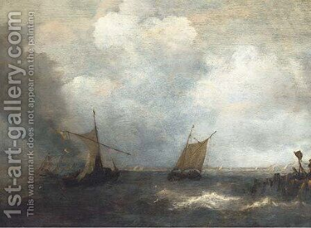 Two smalschips on a choppy sea, by a wherry by (after) Salomon Van Ruysdael - Reproduction Oil Painting