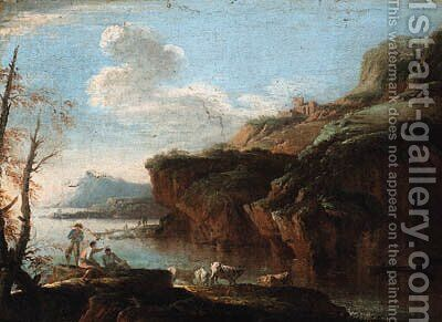 A coastal landscape with herdsmen on the shore by (circle of) Rosa, Salvator - Reproduction Oil Painting