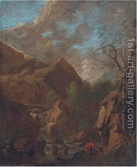 Figures by a cascade by (circle of) Rosa, Salvator - Reproduction Oil Painting