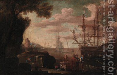 Mediterranean harbours with shipping by (circle of) Rosa, Salvator - Reproduction Oil Painting