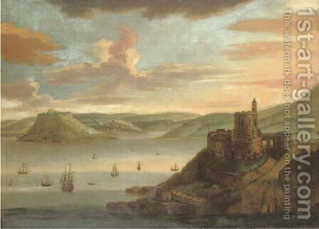 View of St. Mawes Castle by (after) Samuel - Reproduction Oil Painting