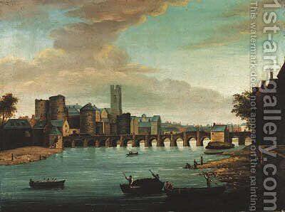 A view of Limerick with Old Thomond bridge, King John's castle and St. Mary's cathedral, with figures and boats in the foreground by (after) Samuel Frederick Brocas - Reproduction Oil Painting