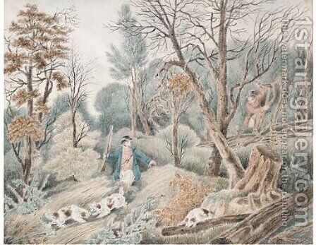 Huntsmen in a wood by (after) Samuel Howitt - Reproduction Oil Painting