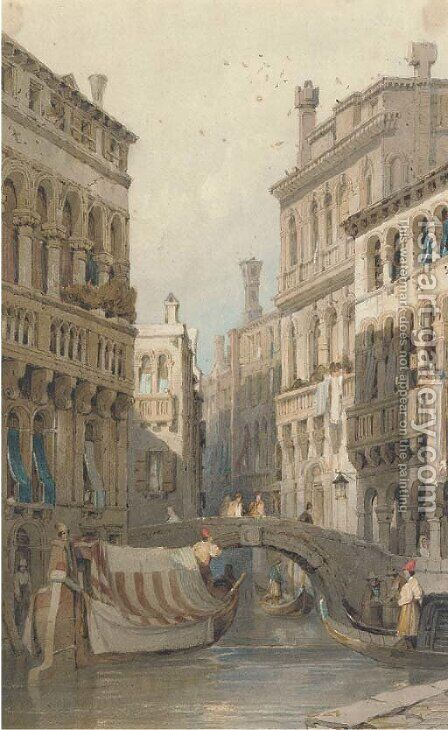 On a Venetian backwater; and Figures on a continental street by (after) Samuel Prout - Reproduction Oil Painting