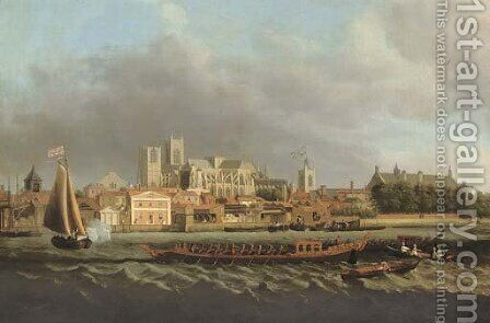 View of Westminster from Lambeth, with a Royal barge in the foreground by (after) Samuel Scott - Reproduction Oil Painting