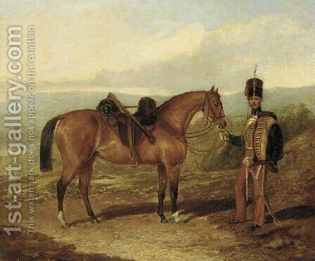 A hussar with his mount in an extensive landscape by (after) Samuel Spode - Reproduction Oil Painting
