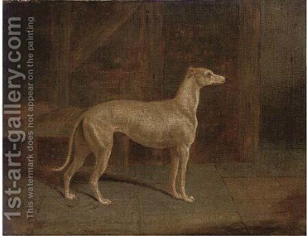 A prize greyhound in an interior by (after) Samuel Spode - Reproduction Oil Painting