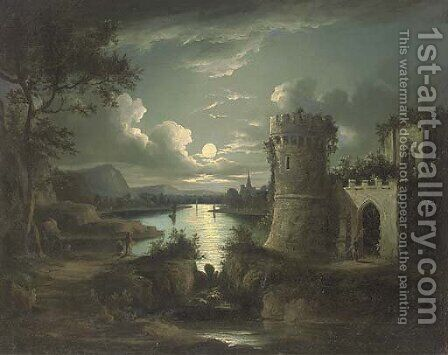 Figures by a ruin, in a moonlit landscape by (after) Sebastian Pether - Reproduction Oil Painting