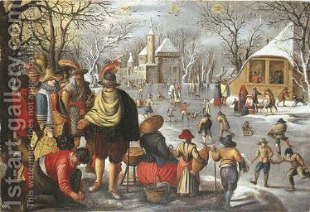 A winter landscape with elegant company preparing to go skating by (after) Sebastian Vrancx - Reproduction Oil Painting