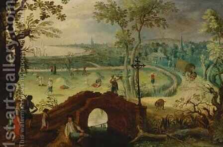 Summer an extensive landscape with harvesters, a view of Antwerp beyond by (after) Sebastian Vrancx - Reproduction Oil Painting
